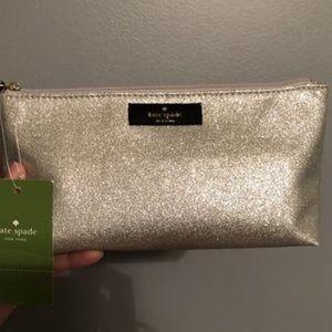 Brand New NWT Kate Spade Silver Glitter makeup bag